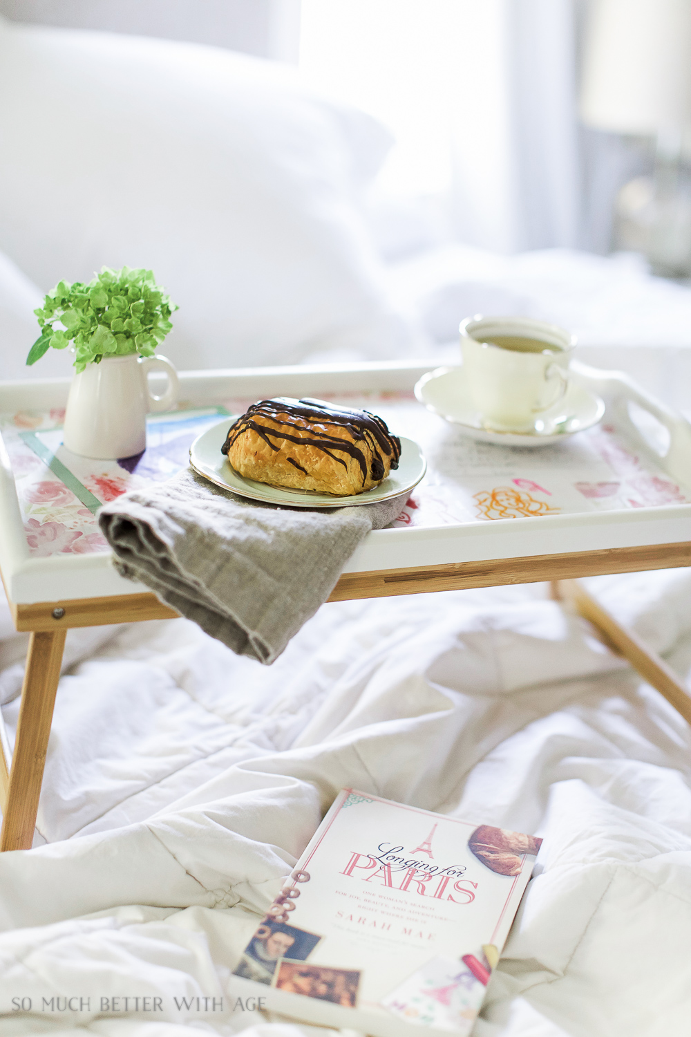 Mother's Day breakfast-in-bed tray with decoupaged kids' art  / Paris book on bed- So Much Better With Age