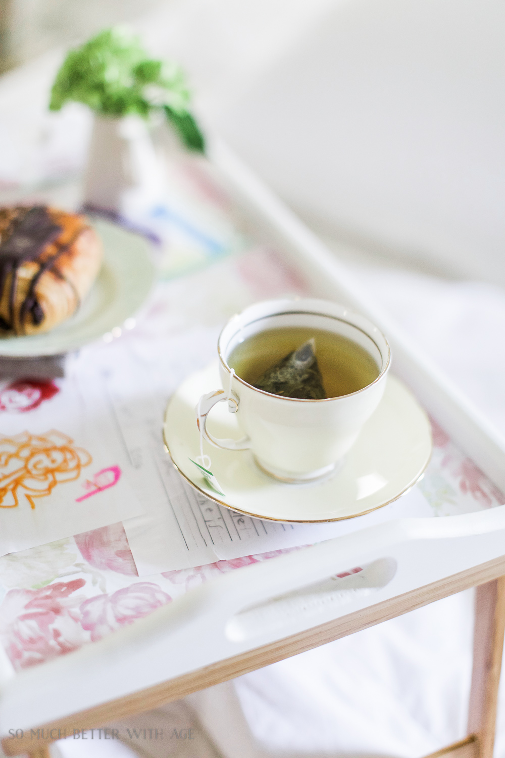 Mother's Day breakfast-in-bed tray with decoupaged kids' art / teacup  - So Much Better With Age