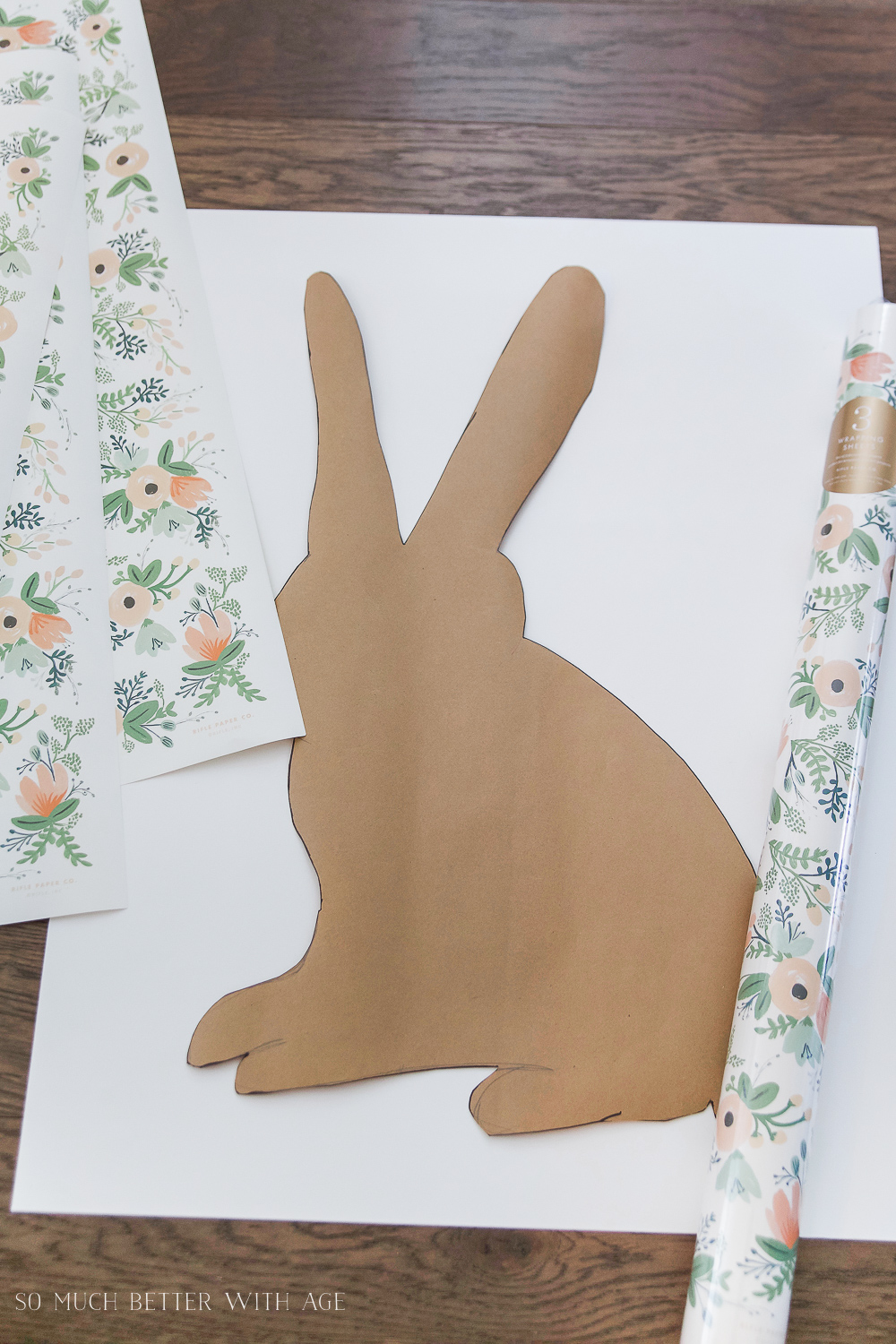 Easter Bunny Sign + Printable/trace out bunny - So Much Better With Age