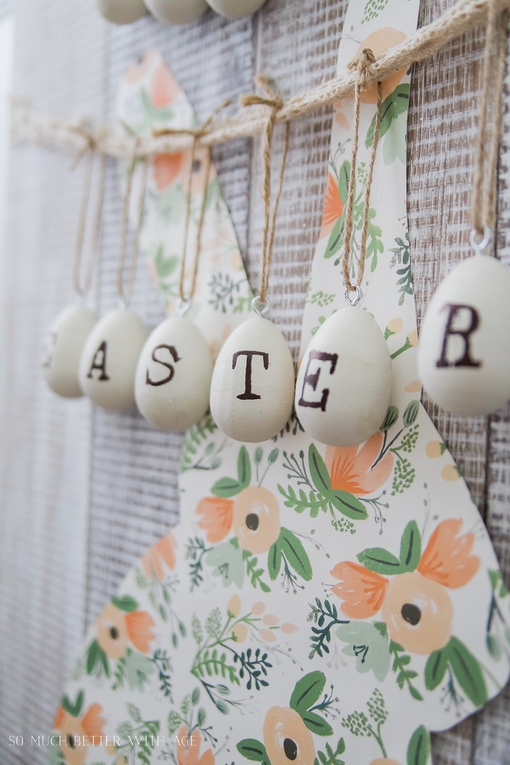 Easter Bunny Sign + Printable/Easter printed on wooden eggs - So Much Better With Age