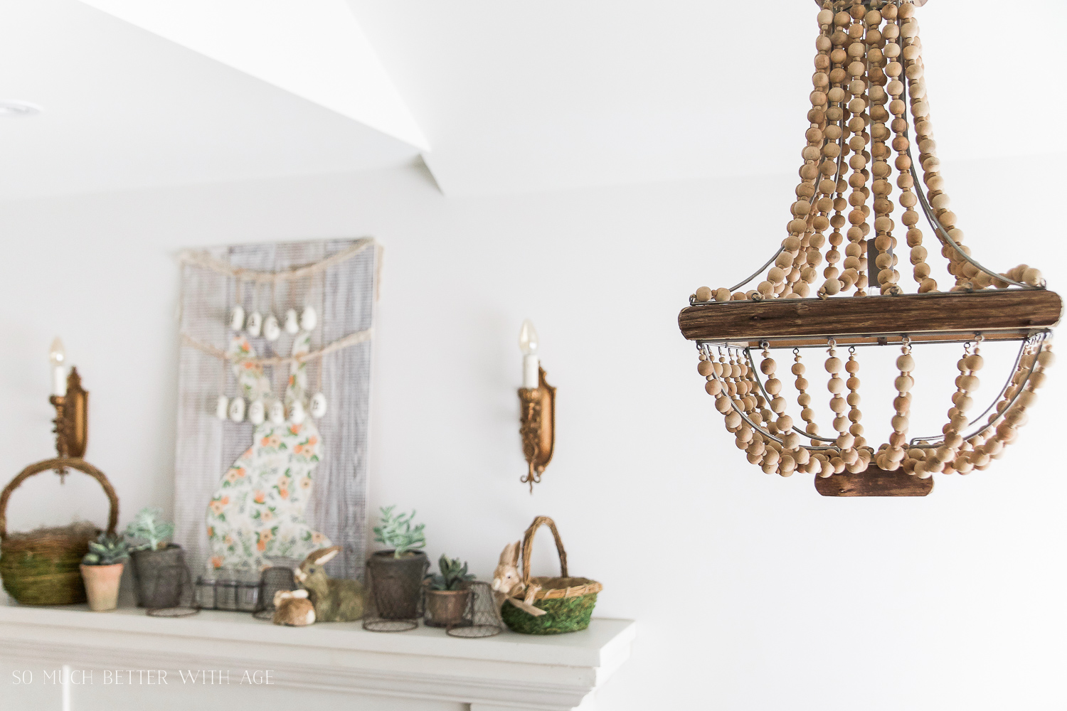 Spring Mantel/beaded wooden chandelier - So Much Better With Age
