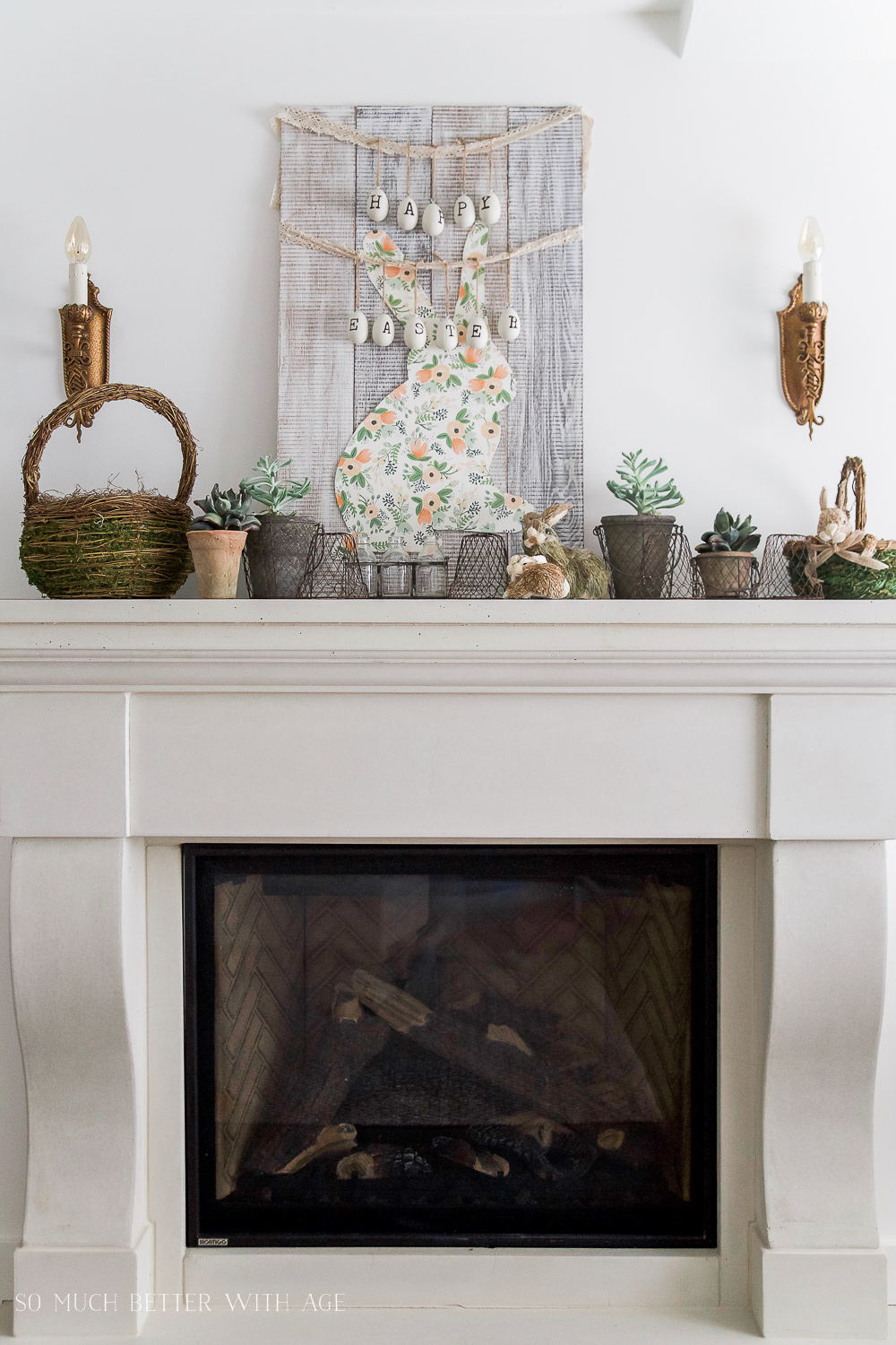 Spring Mantel/succulents, baskets on mantel - So Much Better With Age