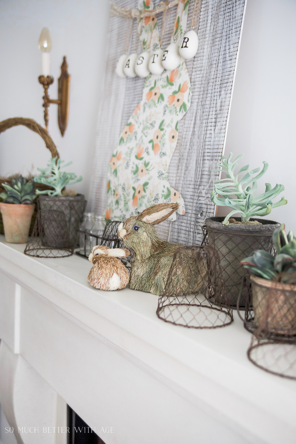Spring Mantel/natural bunny decor and baskets - So Much Better With Age