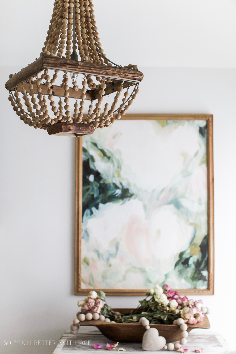 Vintage floral artwork, How to Pick Art with a French Vintage Vibe  / wooden chandelier - So Much Better With Age