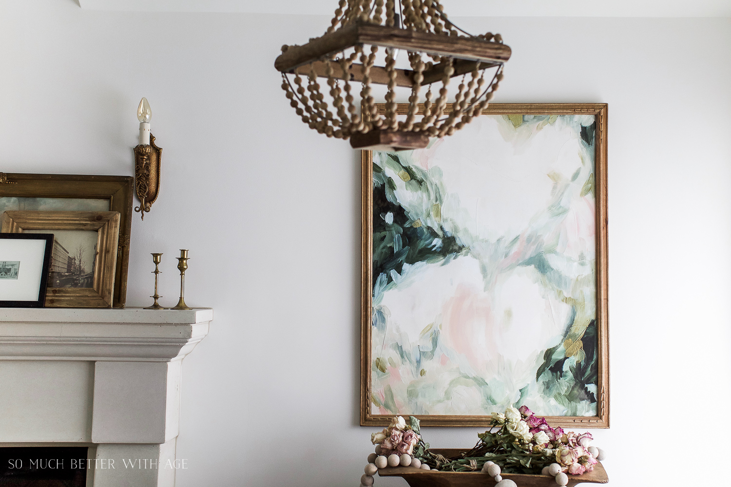 Vintage floral artwork, How to Pick Art with a French Vintage Vibe / fireplace mantle - So Much Better With Age
