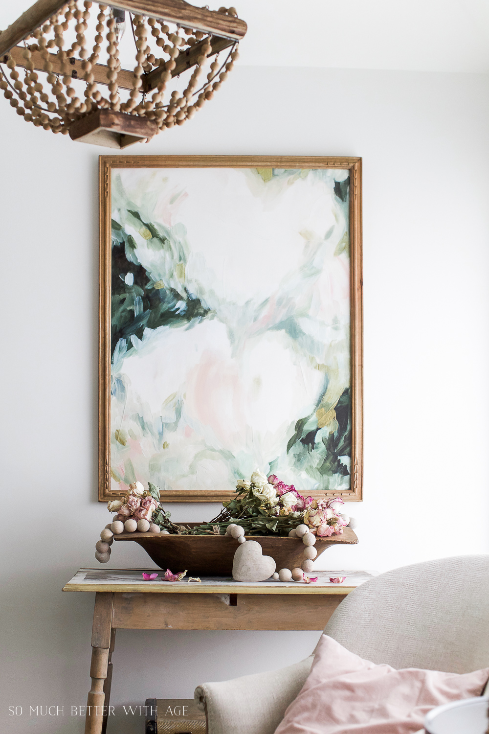 Vintage floral artwork, How to Pick Art with a French Vintage Vibe / French inspired art in living room- So Much Better With Age