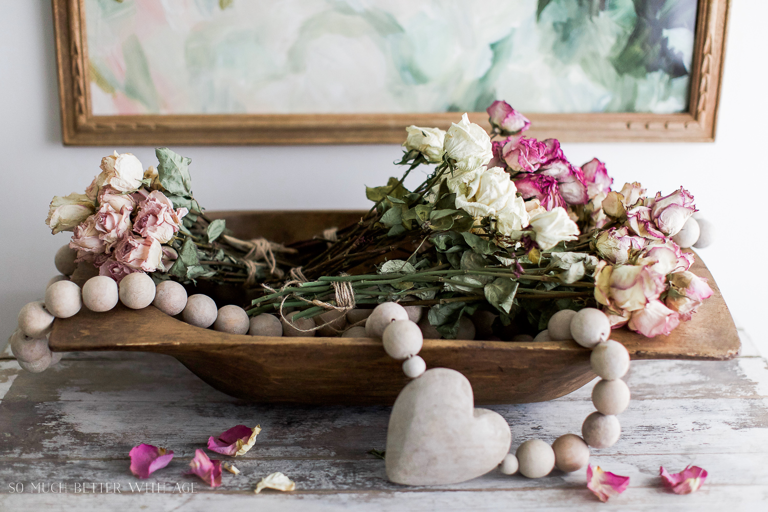 Vintage floral artwork, How to Pick Art with a French Vintage Vibe / flowers and beads in wooden bowl - So Much Better With Age