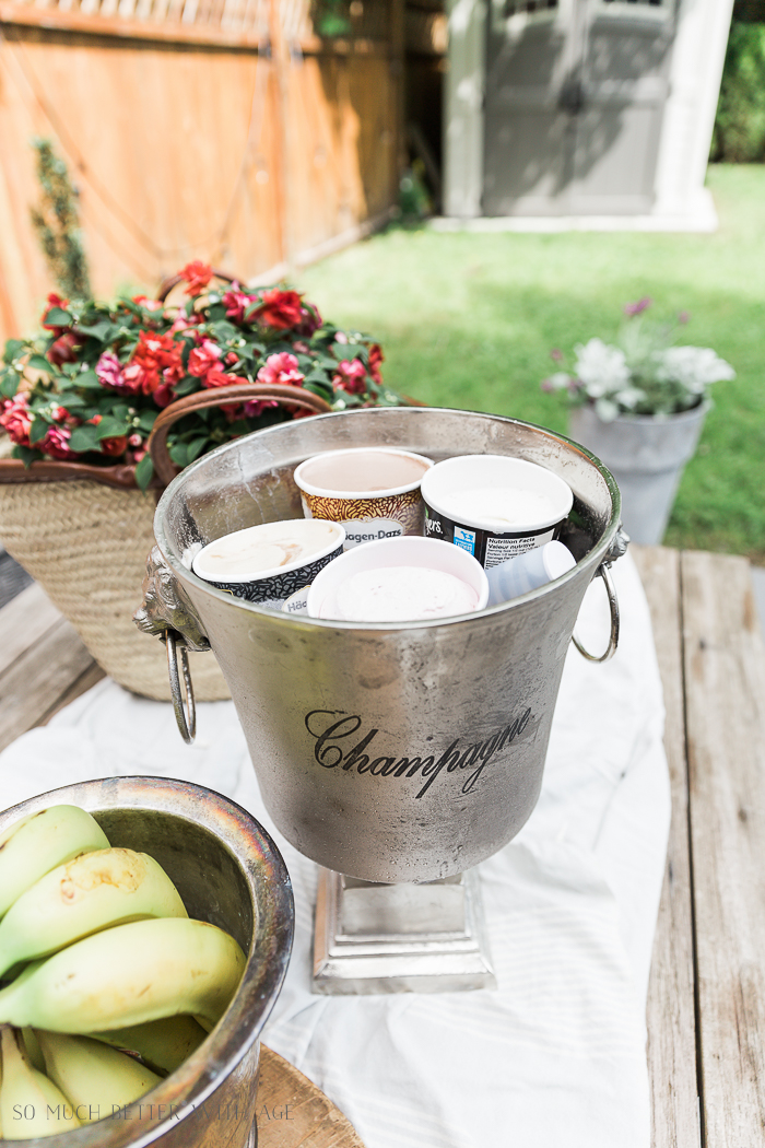 Banana Split Outdoor Party/ice cream in champagne bucket - So Much Better With Age