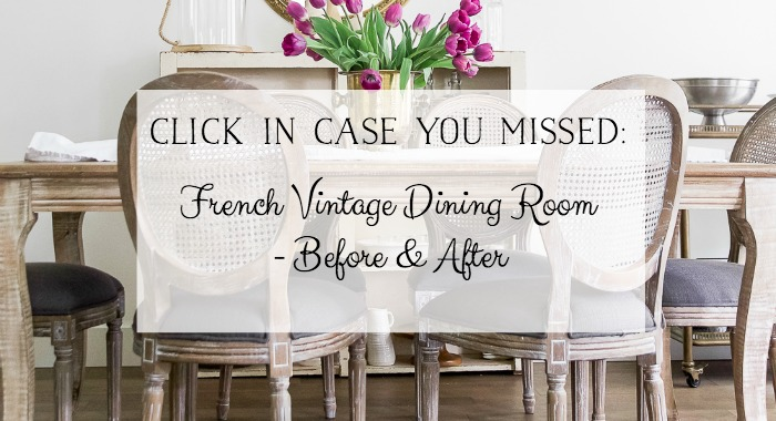 French vintage Dining Room Before and After graphic.