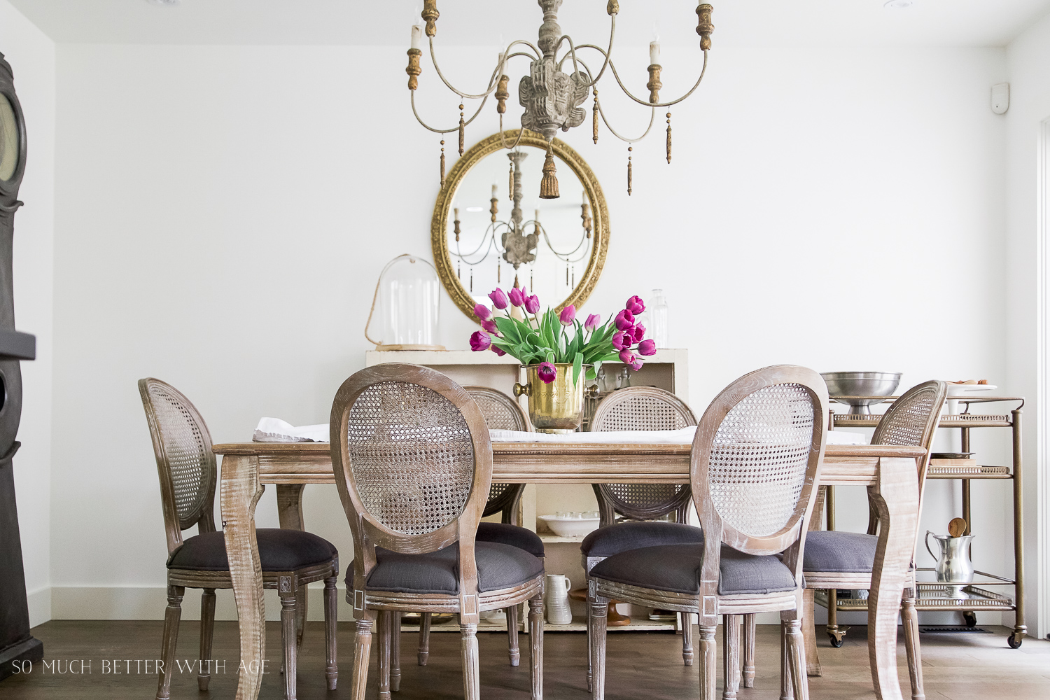 French Vintage Dining Room/French table and chandelier - So Much Better With Age