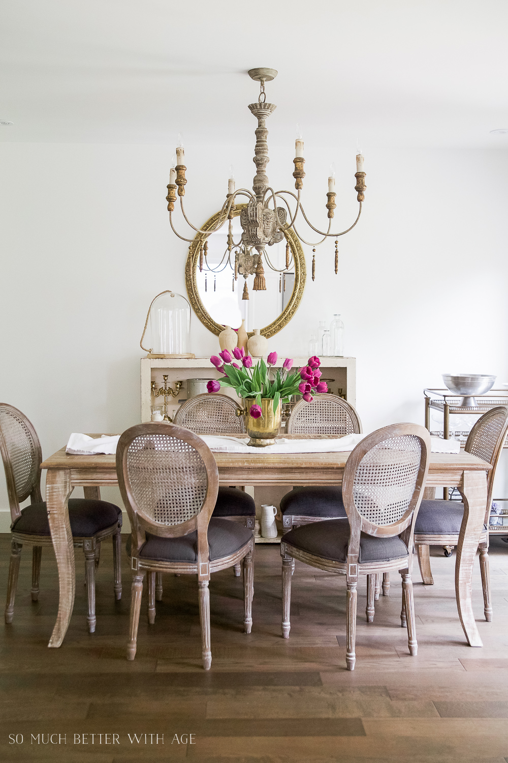 French Vintage Dining Room/cane dining chairs, chandelier - So Much Better With Age