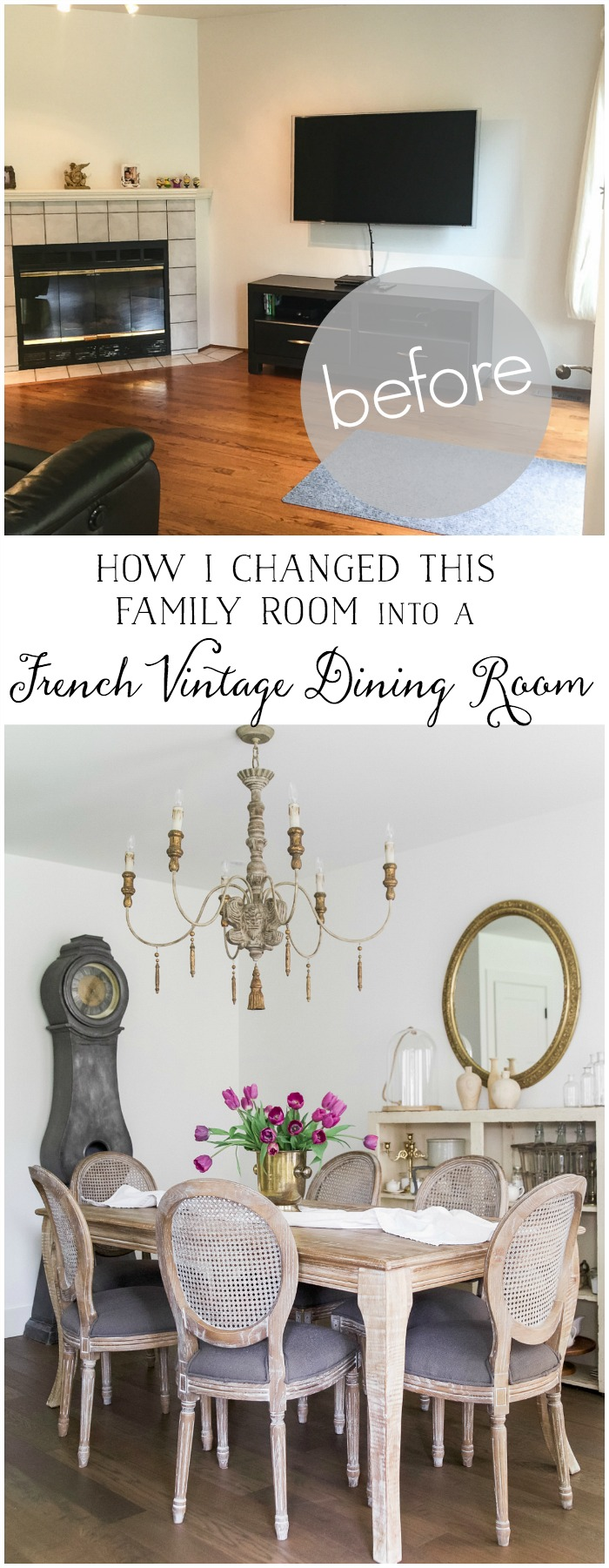 How I Changed this Family Room into a French Vintage Dining Room - So Much Better With Age