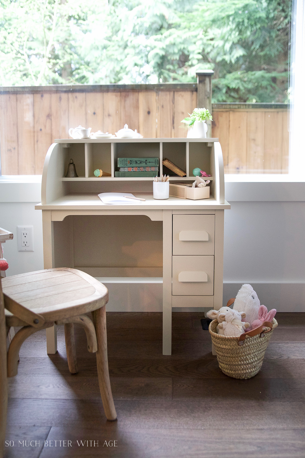 How to Paint over Bright or Dark Coloured Furniture, kids' vintage desk makeover- So Much Better With Age