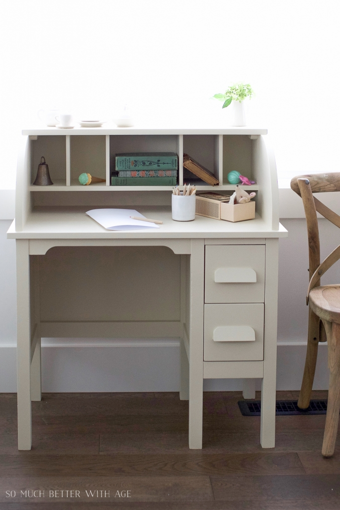 How to Paint Over Bright or Dark Coloured Furniture-Vintage Kid's Desk Makeover | So Much Better ...