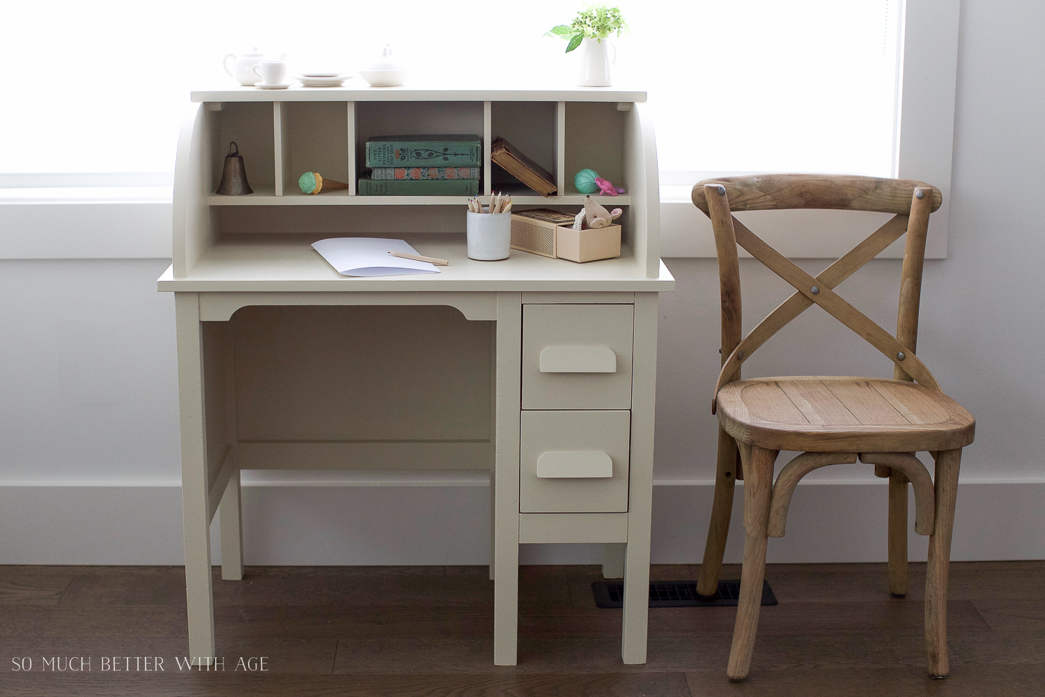 How to Paint over Bright or Dark Coloured Furniture, kids' vintage desk  makeover- - How To Paint Over Bright Or Dark Coloured Furniture-Vintage Kid's