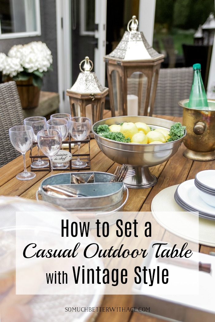 How to set a casual outdoor table with vintage style poster.