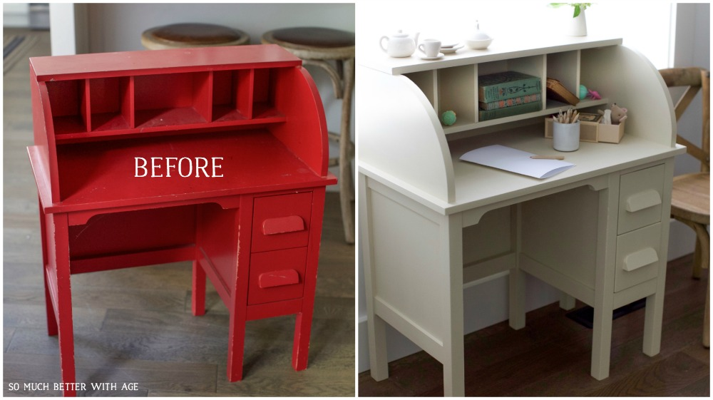 How To Paint Over Bright Or Dark Coloured Furniture Kids Vintage Desk Makeover