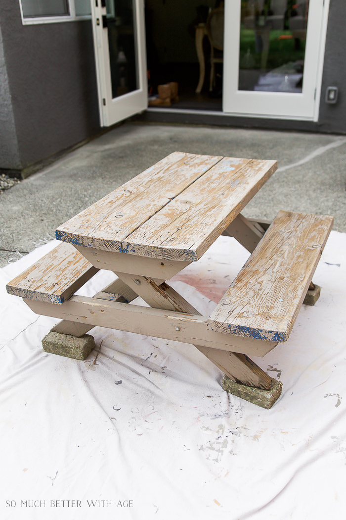Kid S Picnic Table Makeover How To Paint Over Rotten Wood So Much Better With Age