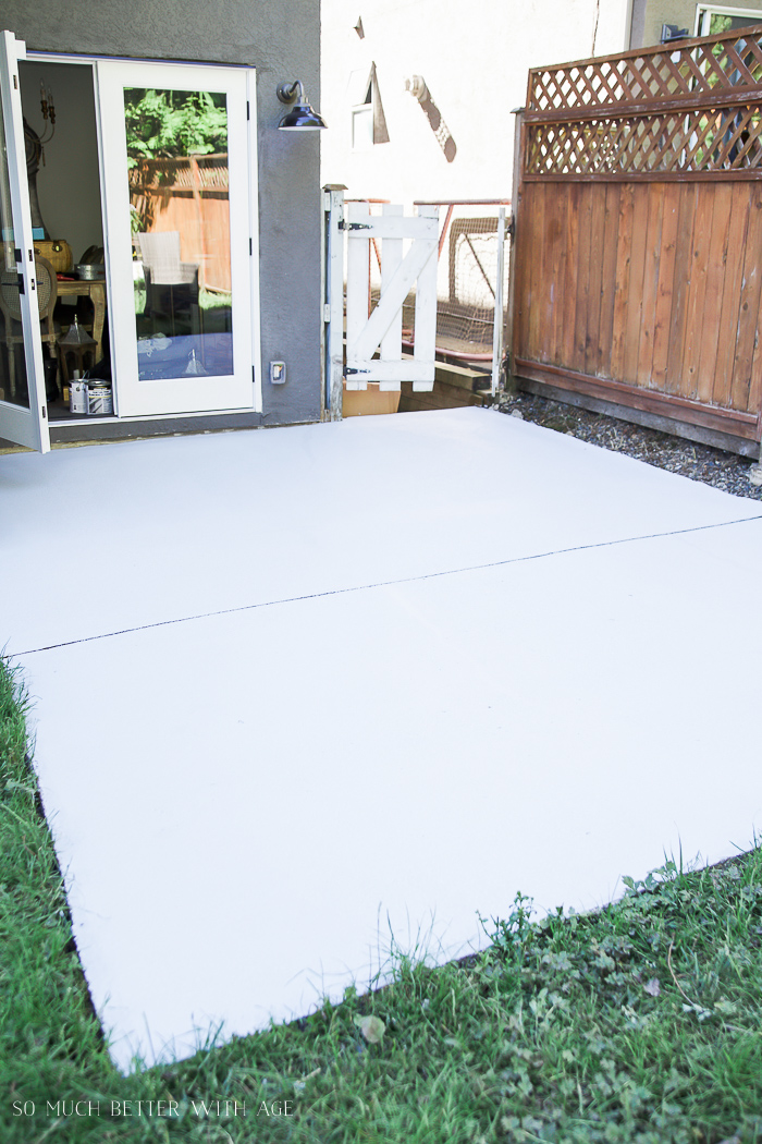 how to paint concrete patio to look like flagstone