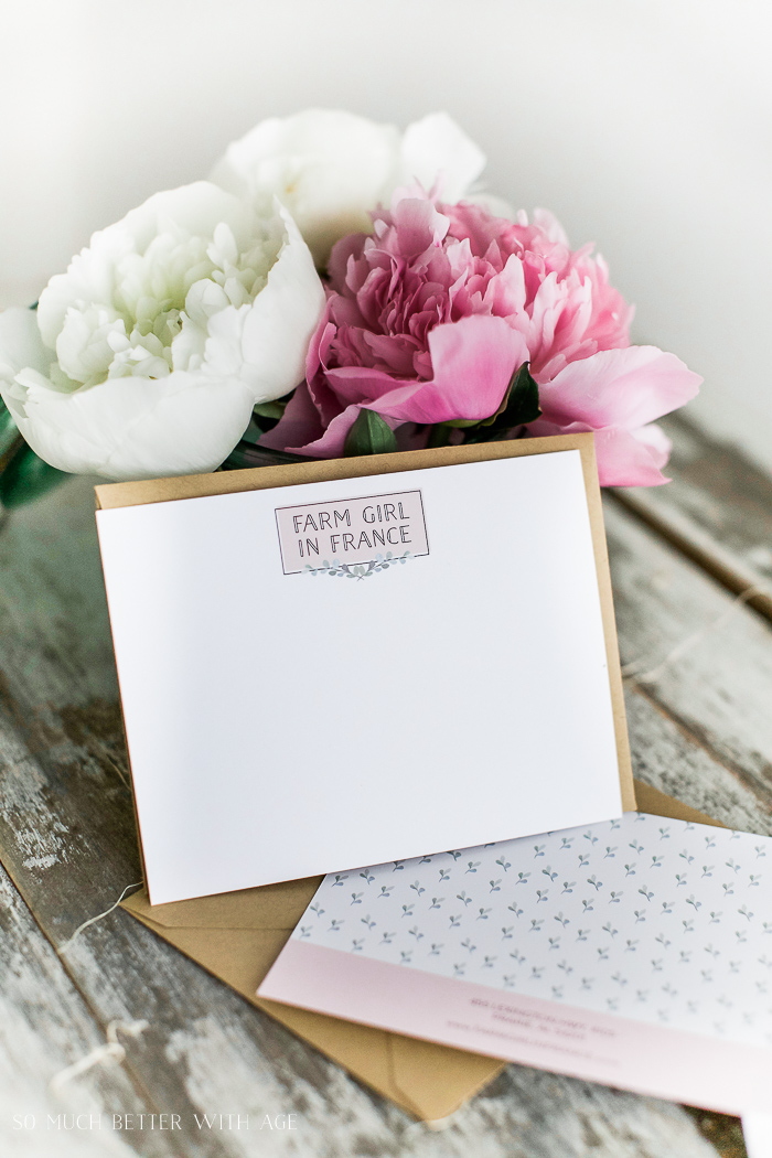 Pink peonies / French Vintage / So Much Better With Age Business Set Collection (Farm Girl in France) from Bliss and Tell Branding