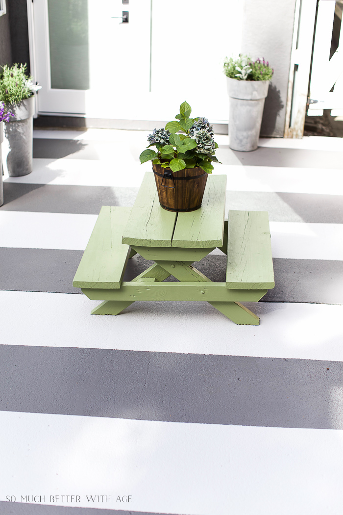 How to Paint Stripes Like an Outdoor Rug on a Concrete Slab - So Much Better With Age