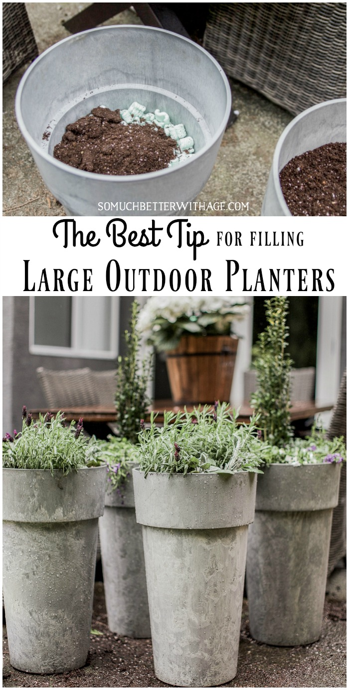 The Best Tip For Filling Large Outdoor Planters So Much