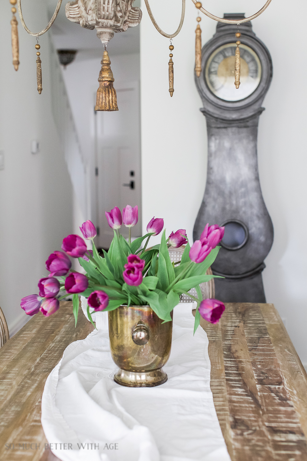 French Vintage Dining Room/Mora clock, tulips - So Much Better With Age