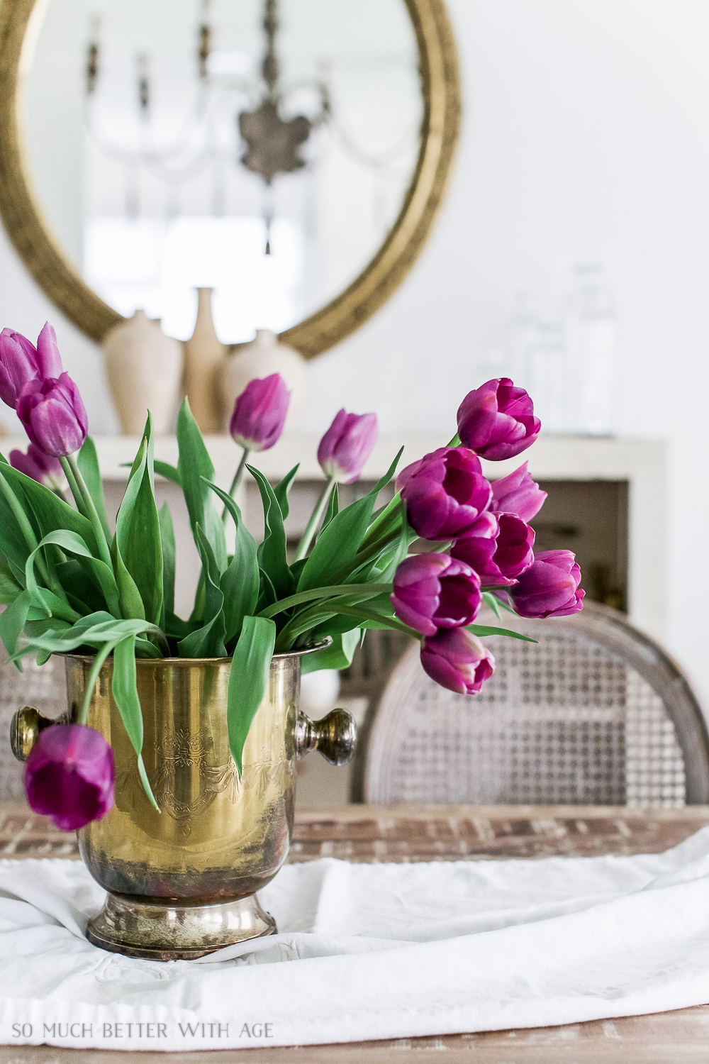 French Vintage Dining Room/purple tulips, champagne bucket - So Much Better With Age