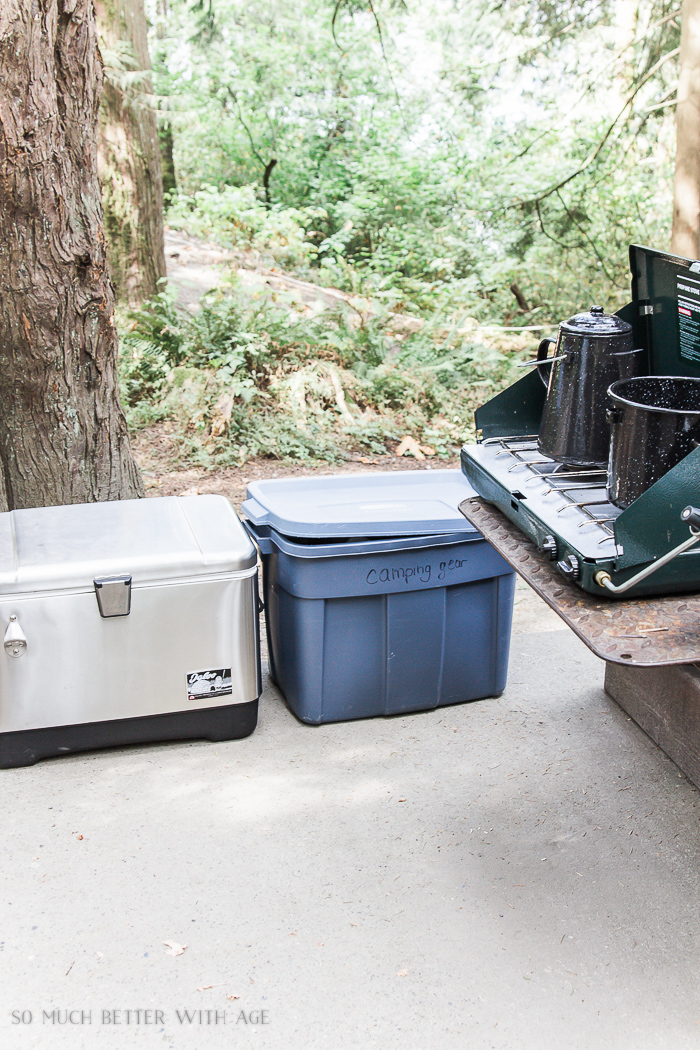 Storage bins with food and camp gear.