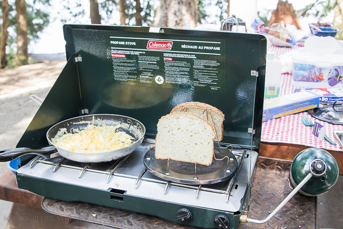 Making toast and scrambled eggs on Coleman stove.