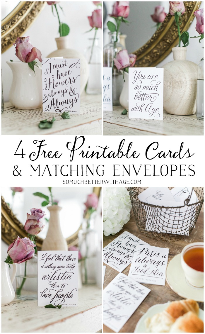 4 Free Printable Cards & Matching Envelopes - So Much Better With Age