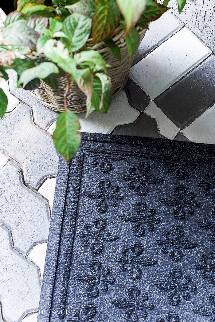 Front Porch Makeover with Painted Paving Stones/black front door mat- So Much Better With Age