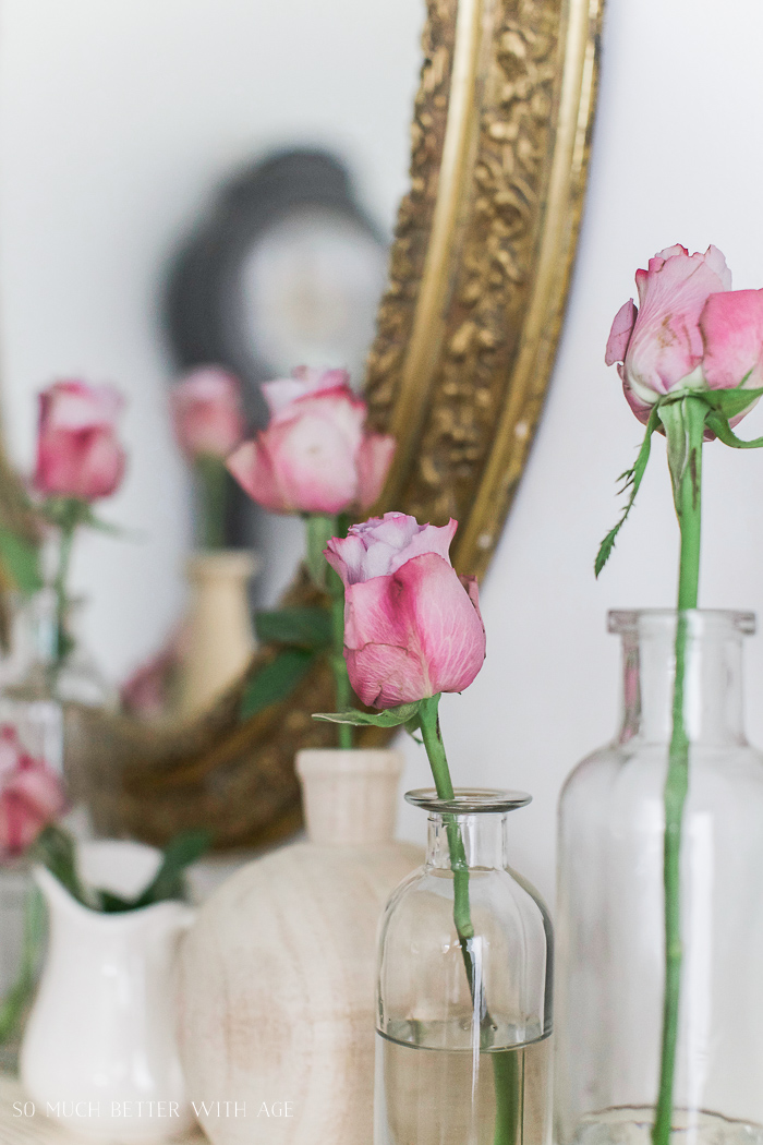 Pink roses in glass & wooden vases/ French Vintage Summer Tour and Simple Basket Centrepiece - So Much Better With Age