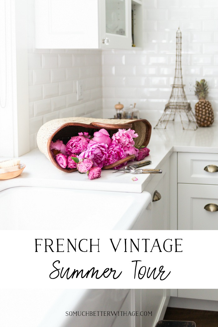 Peonies in French basket