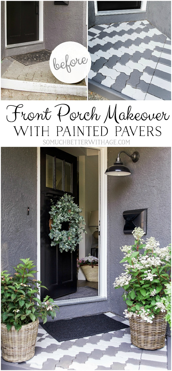 Front Porch Makeover with Painted Pavers - So Much Better With Age