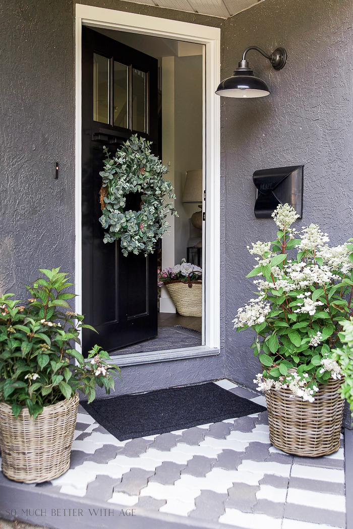 Front Porch Makeover with Painted Paving Stones, Balsam Hill wreath, wicker baskets - So Much Better With Age