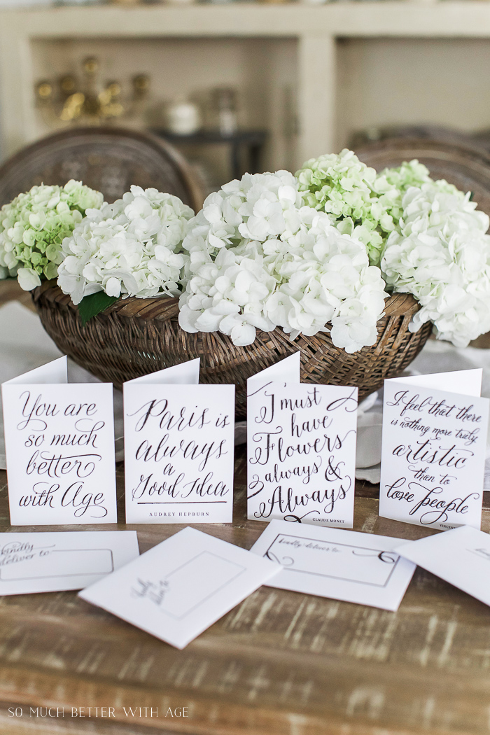 Hydrangeas and cards - Free Printable Cards & Matching Envelopes - So Much Better With Age