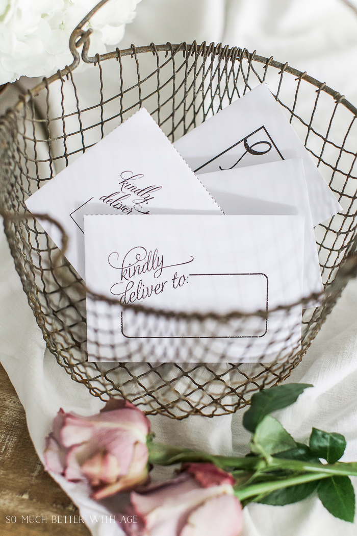 French wire basket - Free Printable Cards & Matching Envelopes - So Much Better With Age