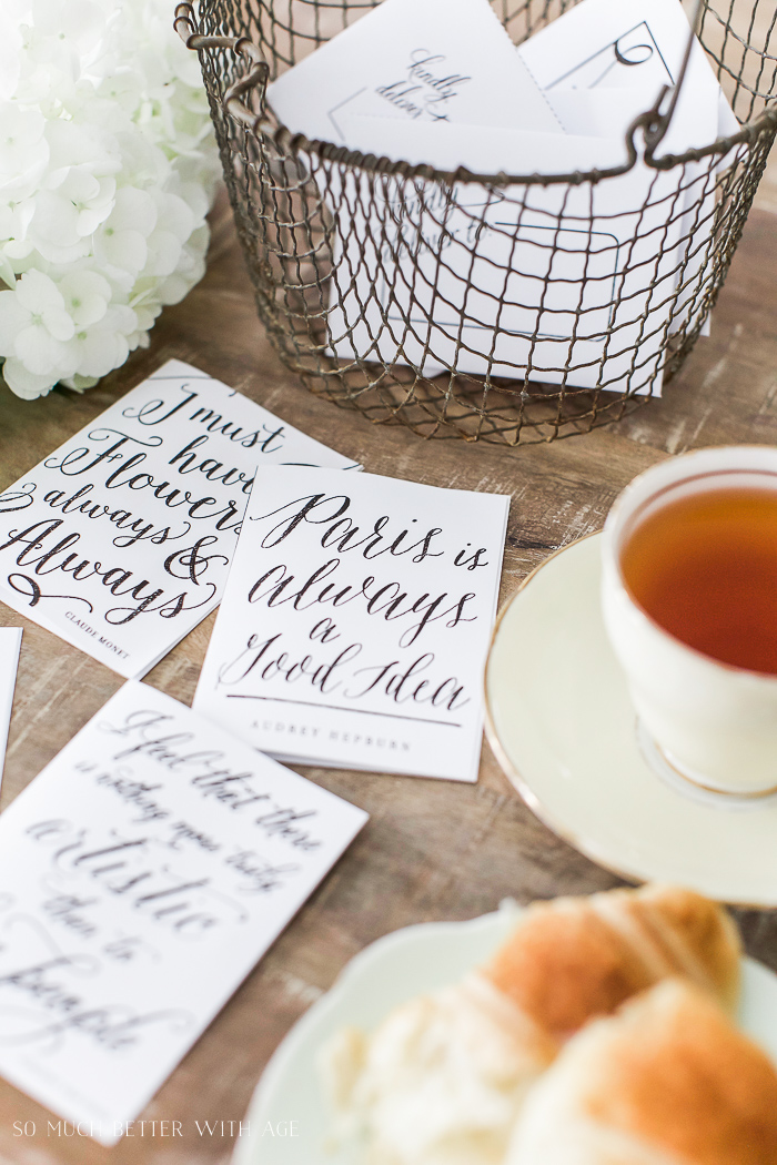 French vintage table setting - Free Printable Cards & Matching Envelopes - So Much Better With Age