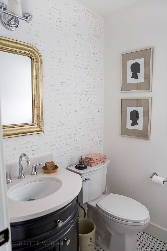 Black, white and French powder room- Home Style Saturdays