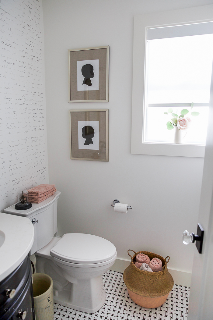 Black white french bathroom makeover / stenciled wall, flowers in window, bathroom makeover - So Much Better With Age