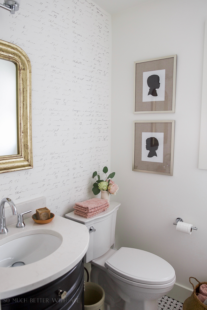 Silhouettes / Black, white & French powder room/bathroom makeover - So Much Better With Age