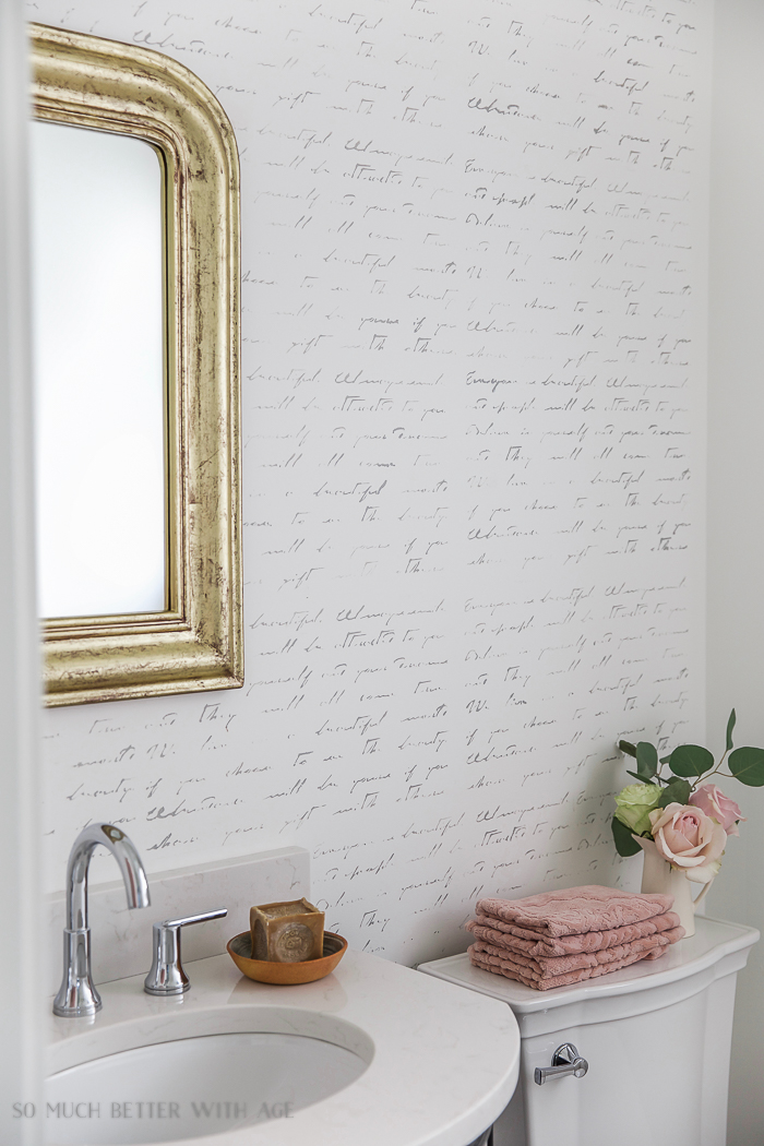 Black white french bathroom makeover/ french gold mirror, french script stencilled wall, vanity - So Much Better With Age