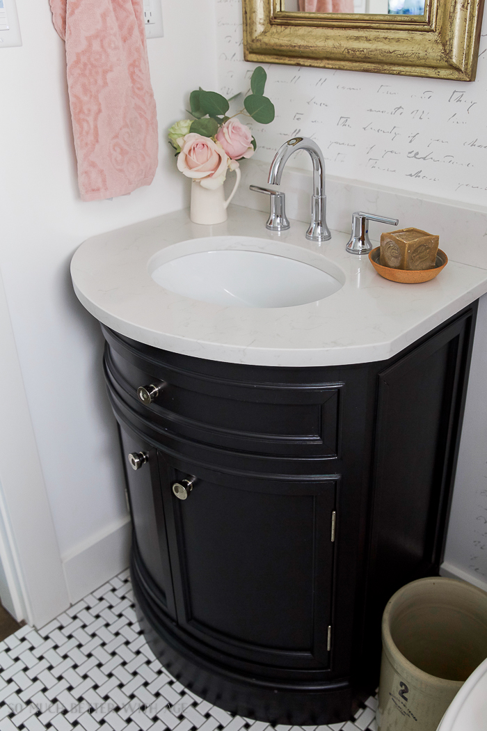 Black vanity / Black, white & French powder room/bathroom makeover - So Much Better With Age