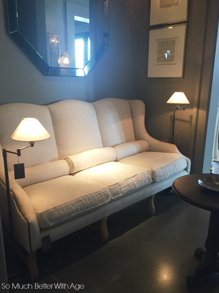 Linen vintage couch - Restoration Hardware Atlanta Design Gallery- So Much Better With Age