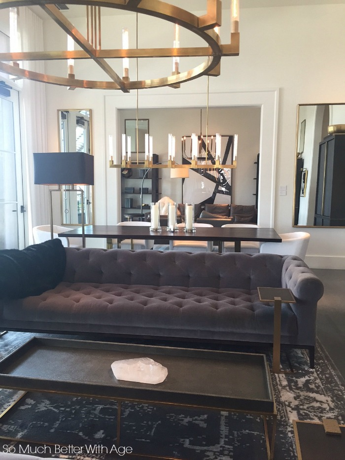 Modern tufted couch, chandelier - Restoration Hardware Atlanta- So Much Better With Age