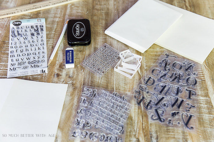 How to Line Up Alphabet Letter Stamps on acrylic blocks/acrylic letters, paper, pencil, stamp ink pad, ruler, clear acrylic blocks.