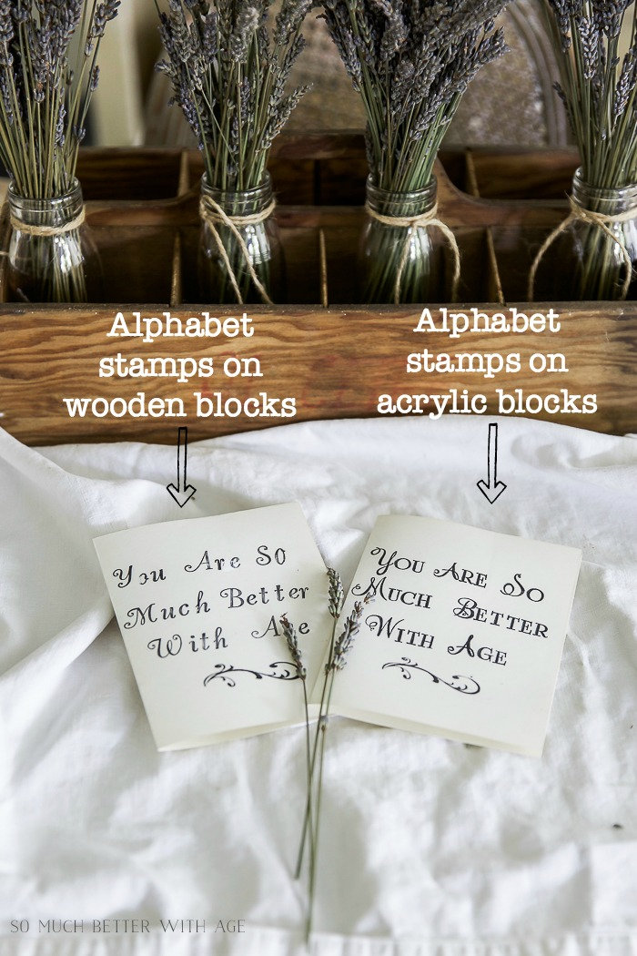 How to Line Up Alphabet Letter Stamps and Use in Place of Hand Lettering Comparison post, stamping with alphabet wooden stamps and alphabet acrylic stamps/lavender, stamped cards - So Much Better With Age #frenchdecor #frenchvintage