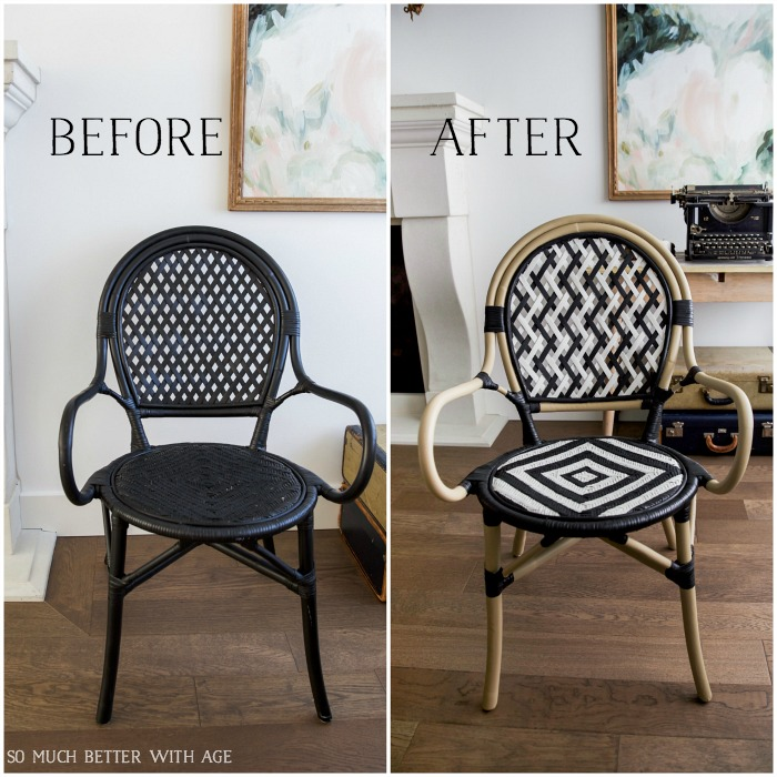 DIY French bistro chair before and after/black ikea chair, painted french bistro chair - So Much Better With Age #frenchdecor #frenchvintage