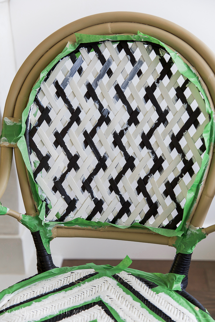 DIY French Bistro Chair/ Ikea Almsta chair, Frog Tape, painted lattice back and seat - So Much Better With Age #frenchdecor #frenchvintage